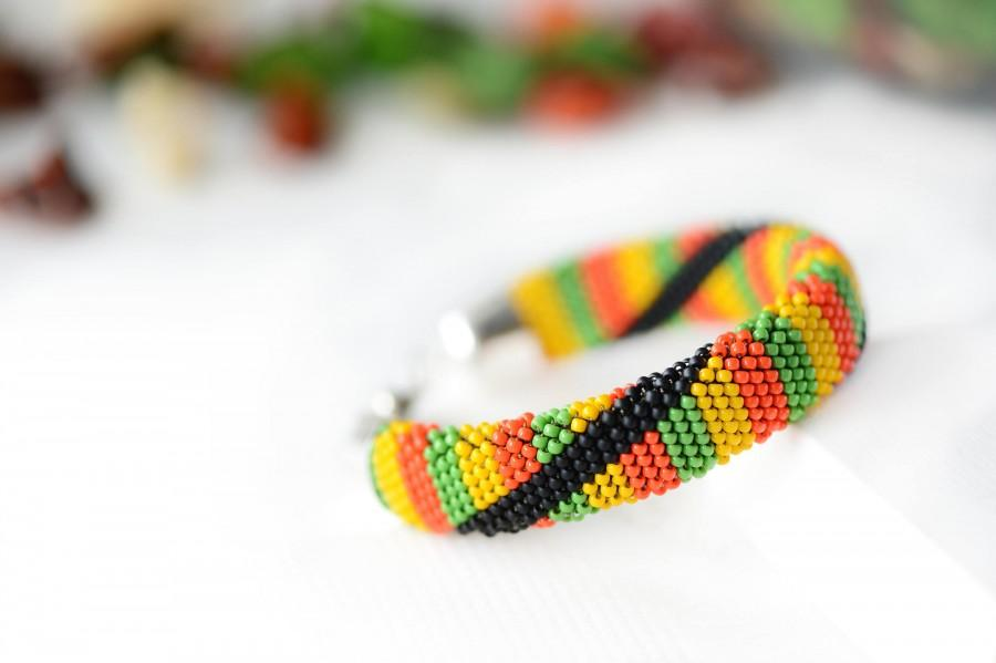 Bead Crochet Bracelet Rastafarian Beaded Bracelet Jamaican