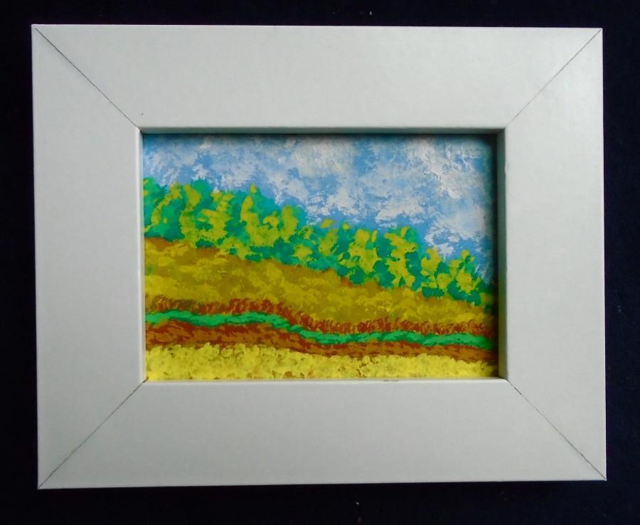 summer hillside 227 original miniature painting 25 x 35 aceo in a 4 x 5 frame by mike kraus