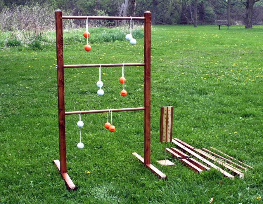 Nozze - Ladder Ball Game Set with Tote - Wooden Ladderball Game ladder Golf Ball Bolas, Scoreboard ladder toss  Ladderball set yard game lawn game