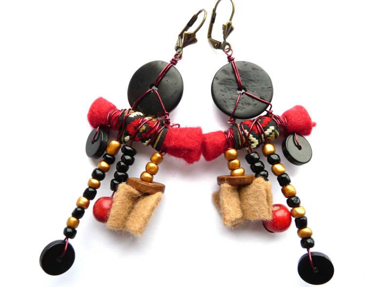 Wedding - Ethnic Earrings, Boho Earrings, Boho Rustic Earrings, Rustic Earrings, Tribe Earrings, Red Earrings, Black Earrings, Black Red, Earrings,