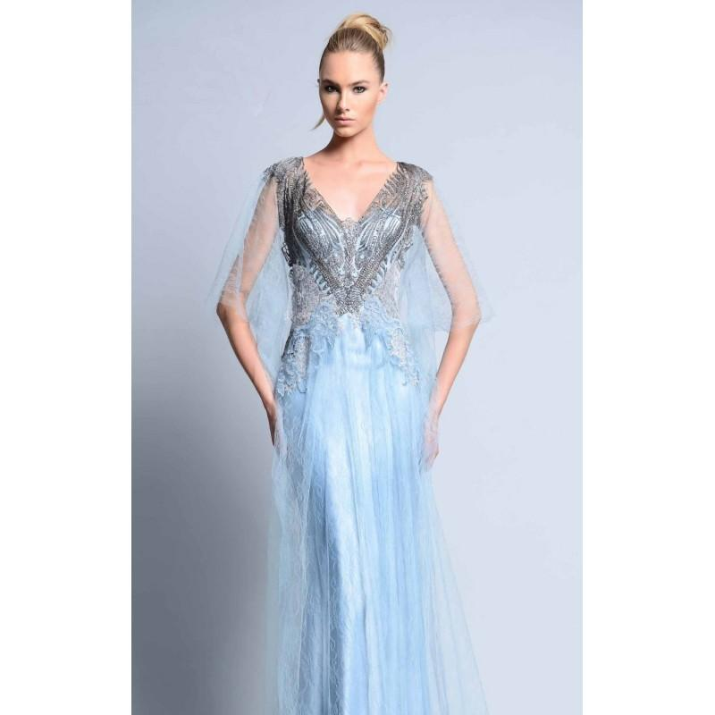 Свадьба - Blue Beaded Long Gown by Beside Couture by GEMY - Color Your Classy Wardrobe