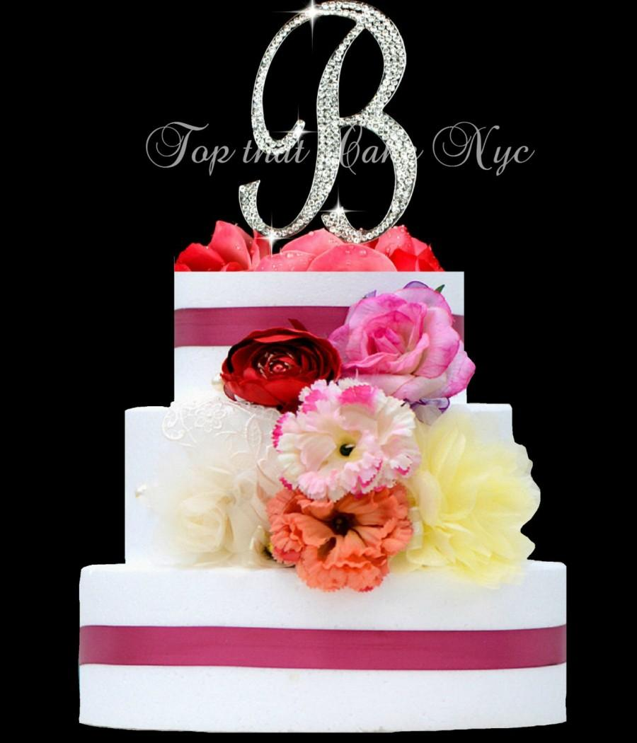 Hochzeit - Large Monogram Letter B OR A Monogram Cake Topper in rhinestones wedding cake topper birthday Bling cake topper silver/gold