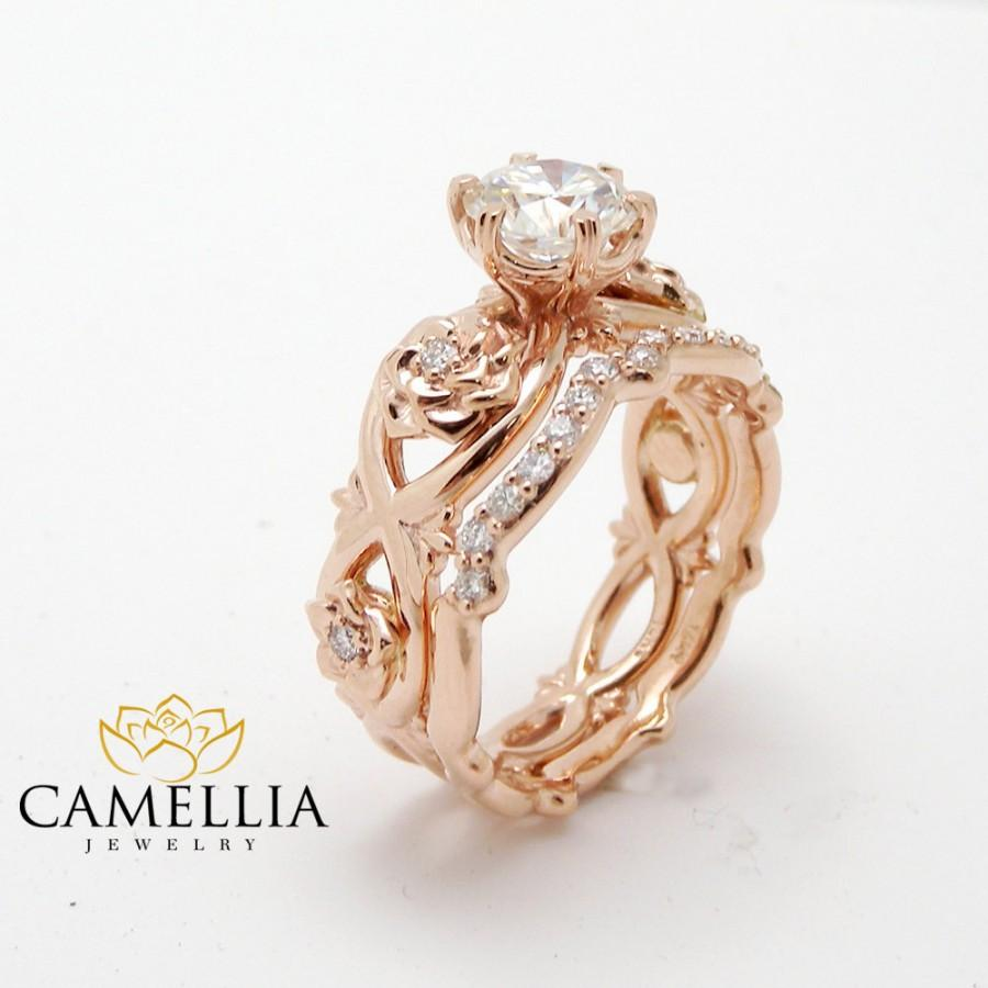 Unique Diamond Wedding Ring Set 14K Rose Gold Real Diamond Ring