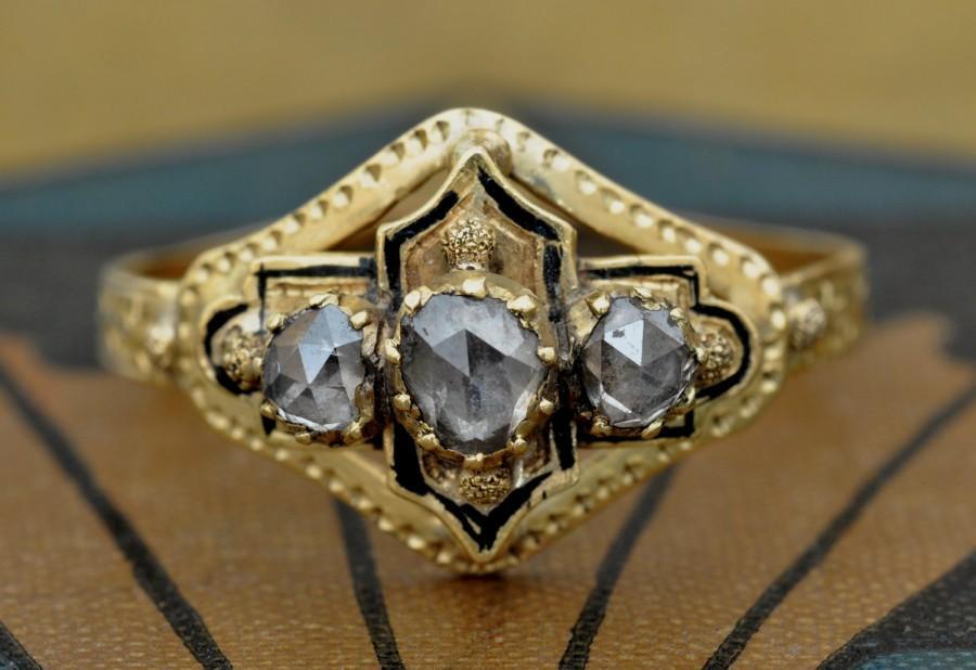 Свадьба - Victorian Engagement Ring-Unique Engagment Ring-Rose Cut Diamond Ring-1800s Engagement Ring-Antique diamond enamel ring-Georgian Ring