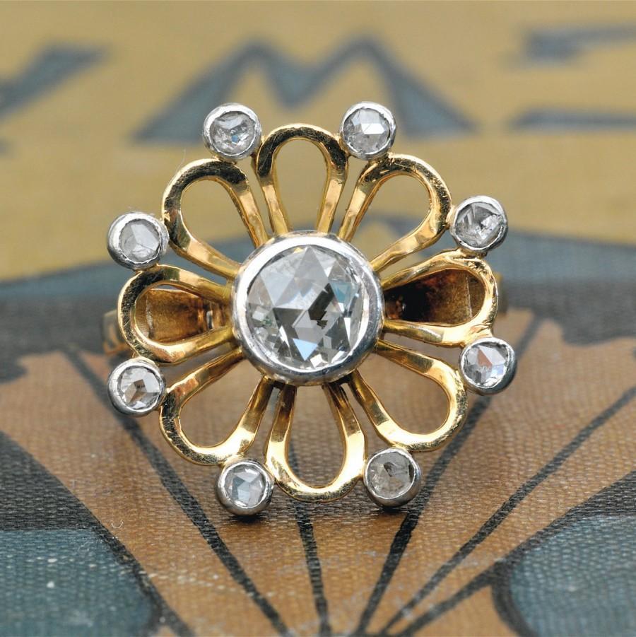 زفاف - Antique Rose Cut Diamond Ring-Unique Engagement Ring-Art Nouveau Engagement -Vintage Cocktail Statement-Antique Diamond Ring-Flower Ring 18k