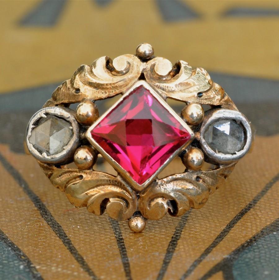 زفاف - Art Deco Ring-Antique Ruby Diamond Ring-Unique Engagement Ring-Vintage Ruby and Rose Cut Diamond Statement Ring-Ruby Wedding