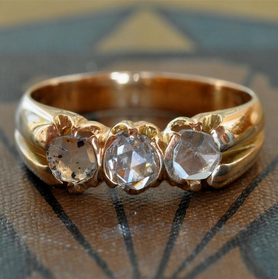 Mariage - Art Nouveau Victorian Engagement Ring-1800s Engagement Ring-Unique Engagement-Antique Rose Cut Diamond Wedding Band-Diamond Stacking Ring