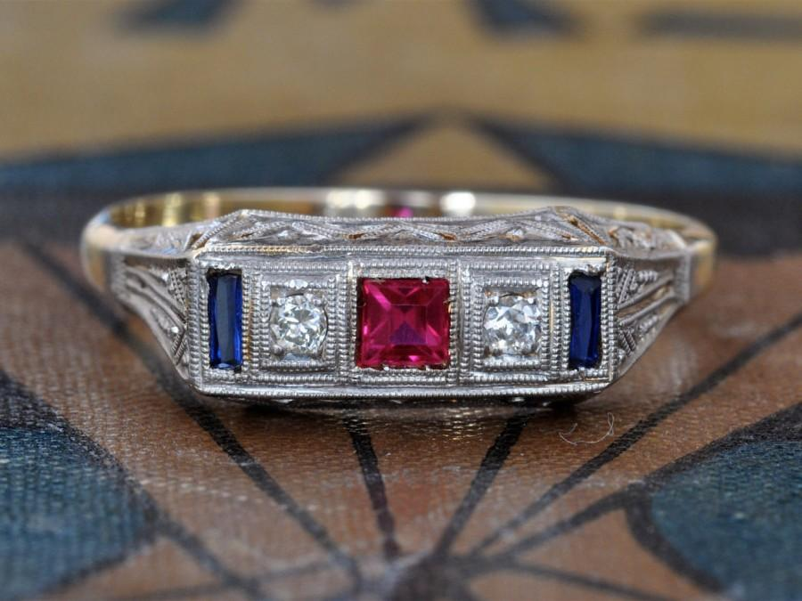 زفاف - SALE! Edwardian Engagement Ring-Art Deco Ring-Unique Engagement Ring-Antique Sapphire Ring-Edwardian Ring-Antique Ruby Ring-Stacking Ring-