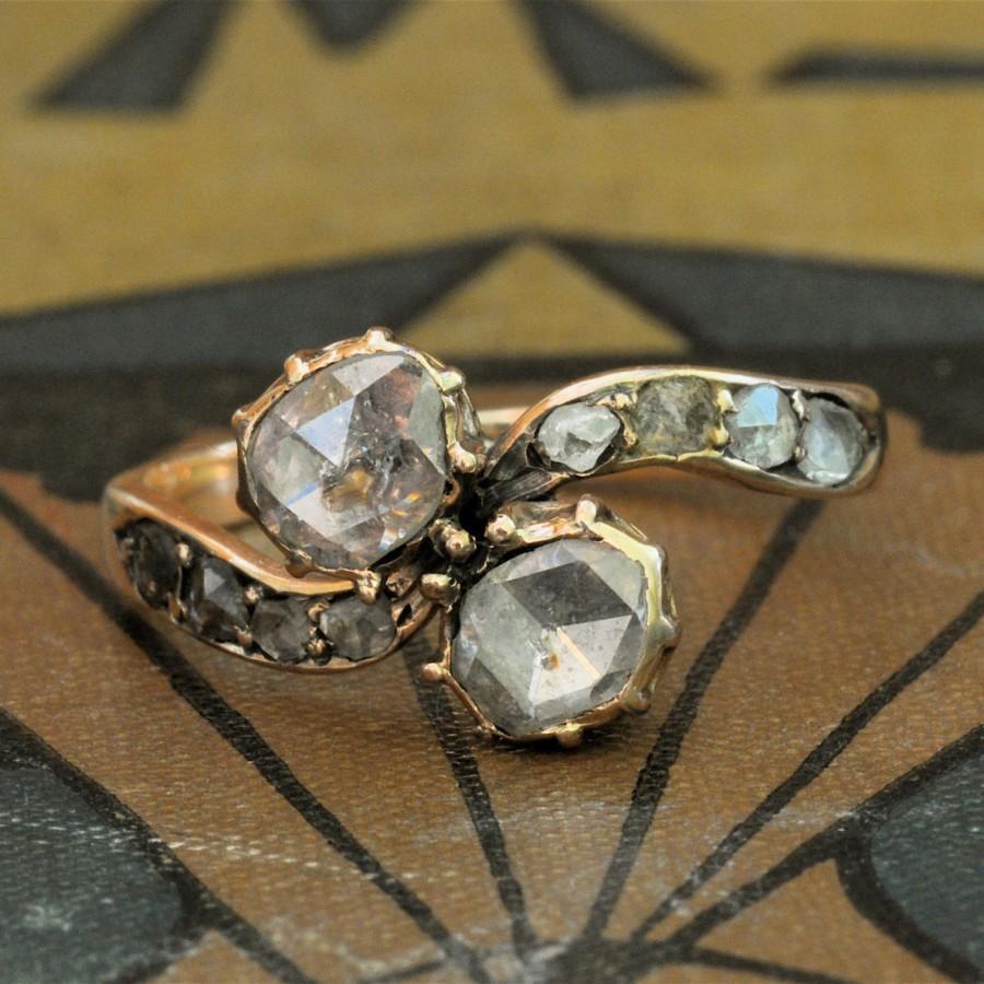 زفاف - Victorian Engagement Ring-Art Nouveau Engagement Ring-1800s Engagement Ring-Unique Engagement Ring-Rose Cut Diamond Engagement-Moi et Toi