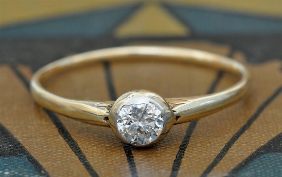 زفاف - SALE! Art Nouveau Diamond Engagement Ring-1800s Diamond Solitaire Engagement Ring -Victorian Engagement Ring-Edwardian Diamond Ring