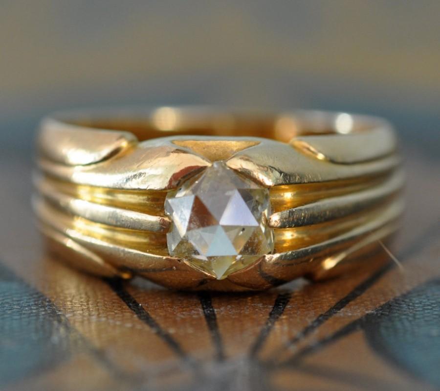 زفاف - Antique Engagement Ring-1800s Engagement Ring- Unique Engagement Ring- Art Nouveau Engagement Ring-Antique Rose Cut Diamond Ring