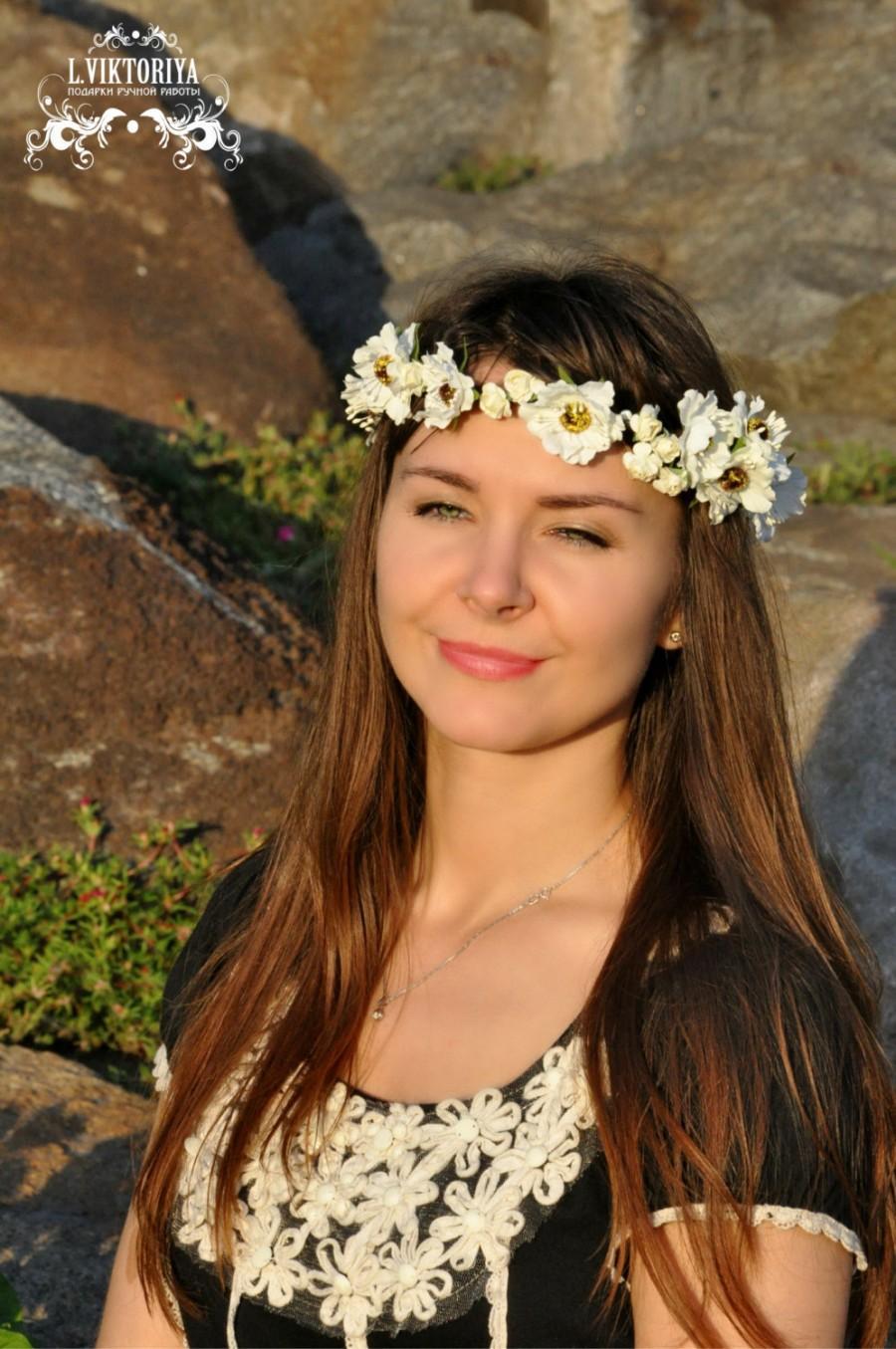 Mariage - Wedding flower crown Rustic flower crown White floral crown Flower hair wreath  Bridal floral crown Flower halo Rustic crown headpiece LV12