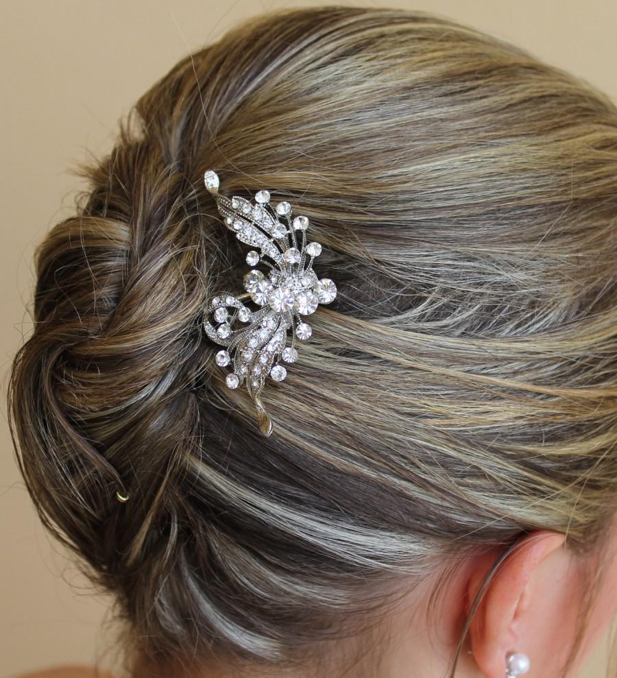 Mariage - Crystal Flower Hair Comb, Wedding Hair Accessories, Bridal Crystal Hair Clip, Bridal Hair Clip ROSE