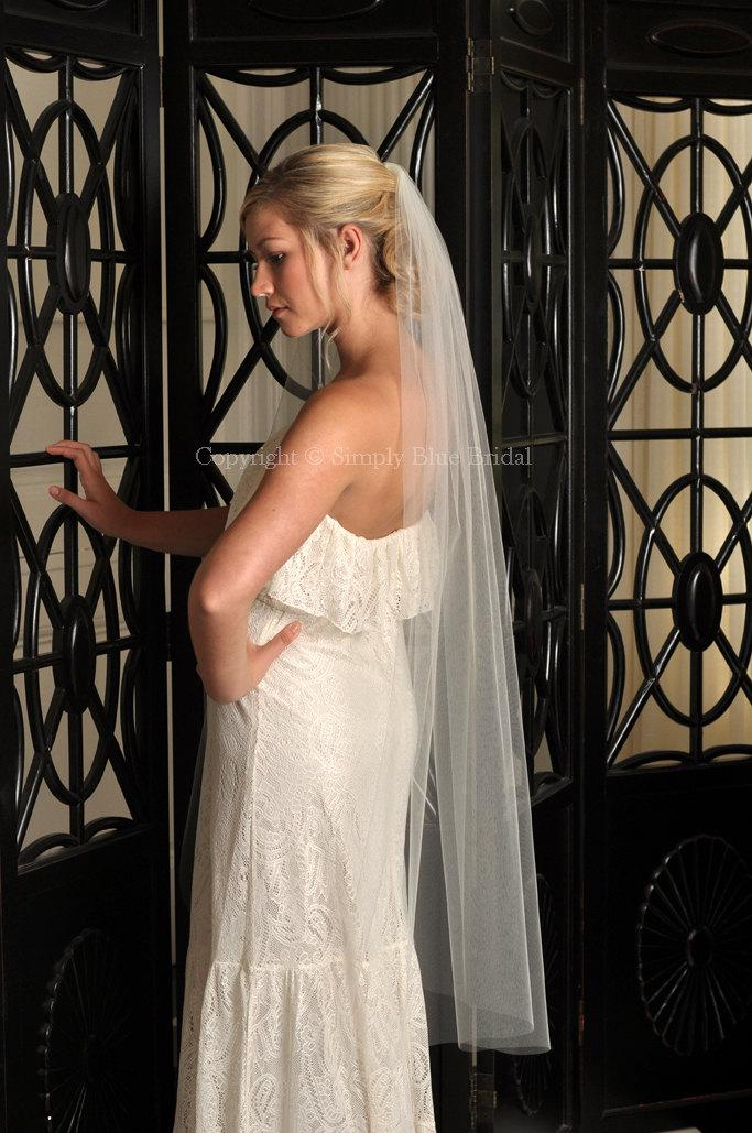 "Свадьба - Waltz Length Veil, Raw Edge Veil, IVORY Wedding Veil 54""W - READY to SHIP"