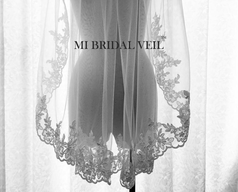Свадьба - Custom Bridal Veil, Lace Veil, Vintage Inspired Rose Lace Veil, Lace at Chest, Single Tier Lace Veil, Fingertip, Waltz, Floor, Chapel