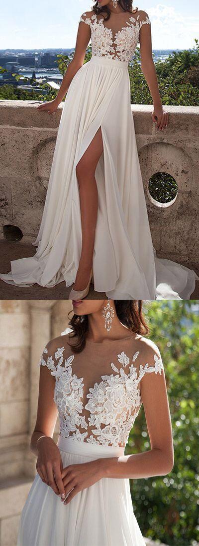 Свадьба - Ivory Lace Beach Wedding Dresses,Front Slit See Through Wedding Dress,Cap Sleeves Wedding Gowns
