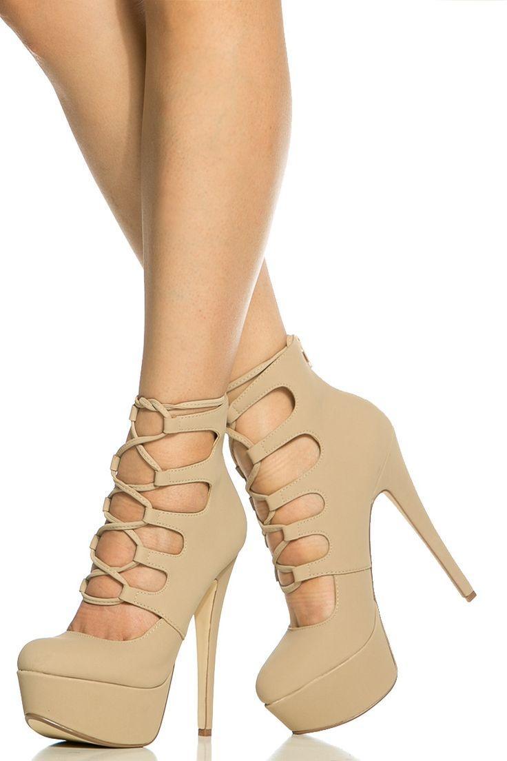 b24fb97095c2 Nude Faux Nubuck Lace Up Platform Heels   Cicihot Heel Shoes Online Store  Sales Stiletto Heel Shoes