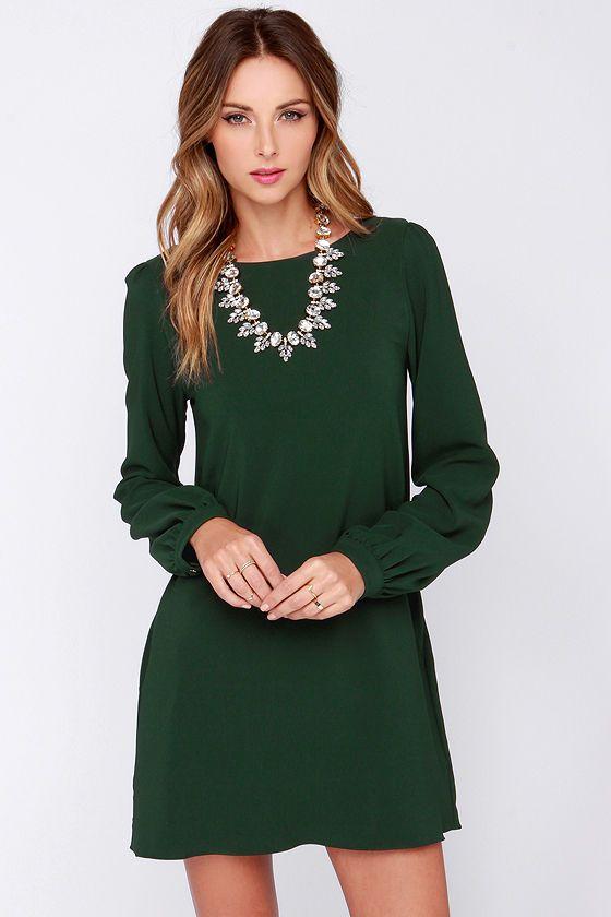 Wedding - Perfect Situation Dark Green Long Sleeve Shift Dress