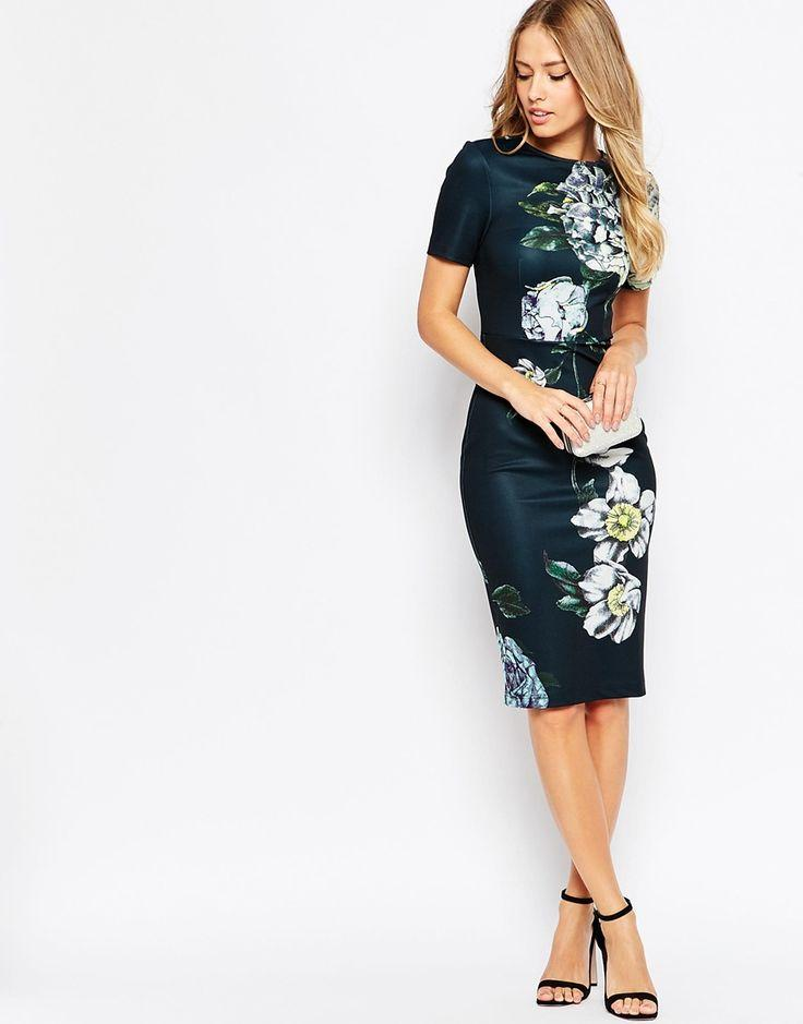 Wedding - Premium Placed Dark Scuba Floral Midi Body-Conscious Dress