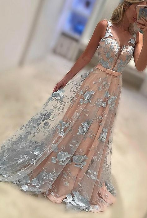 Wedding - New Arrivel A-Line V-Neck Sweep Train Lace Long Prom Dress With Bowknot
