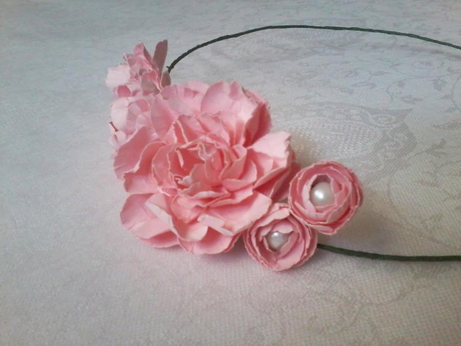Свадьба - Bridal wreath /  Pink flower crown/ Bridal Headpiece / Pink rose crown / Rustic headpiece / Paper flowers