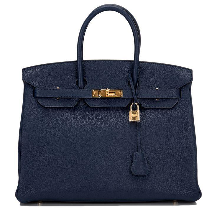 Hochzeit - Hermes Birkin Bag 35cm Blue Sapphire Clemence Gold Hardware