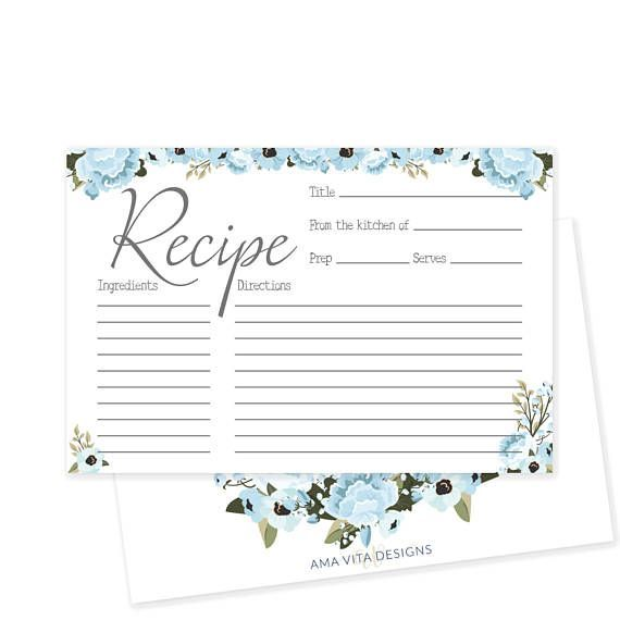 Свадьба - Printable Recipe Card For Bridal Shower