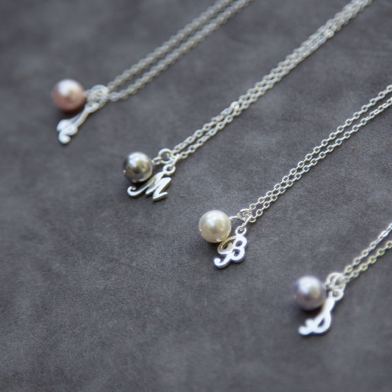 Hochzeit - Sterling Silver Bridesmaid Necklace Set of 4, Pearl Necklace with Initial Bridesmaid Jewelry Gift for Bridesmaid, Thank You Gift