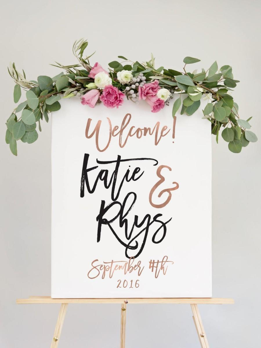 Свадьба - Rose Gold Wedding Welcome Sign for Wedding Reception Entrance Sign - The Penny Set by Miss Design Berry