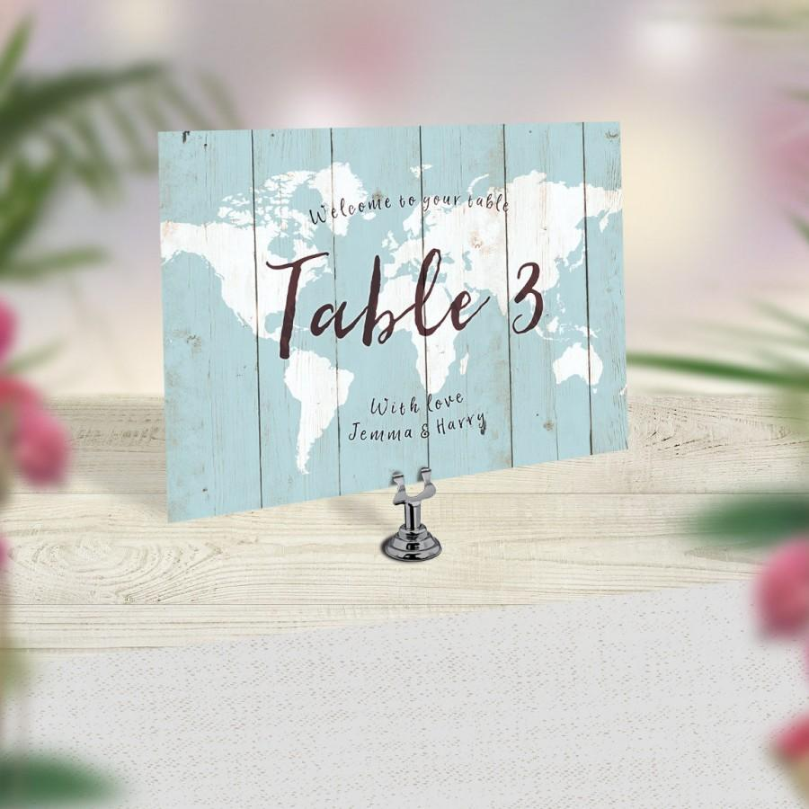wedding table numbers travel theme wedding world map table