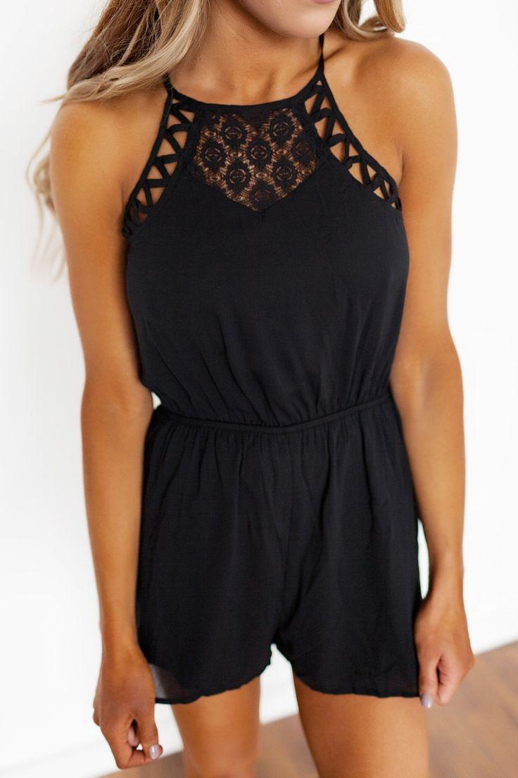 Wedding - Black Lace/Strappy Detail Romper