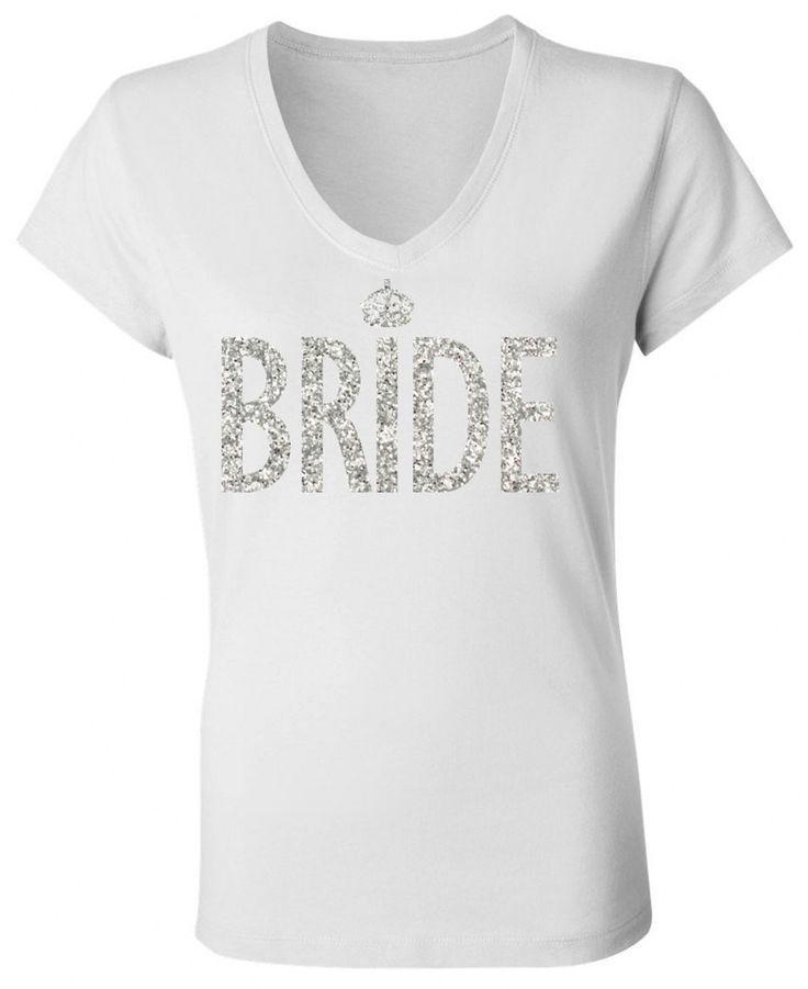 Wedding - Bride White V-neck With Silver Glitter Print