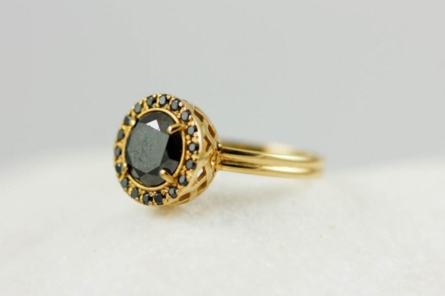 زفاف - Engagement Ring, Black Diamond Ring, Gold Diamond Ring, Black Engagement, Halo Gold Ring, 18K Solid Gold, Unique Engagement Ring, GR0277