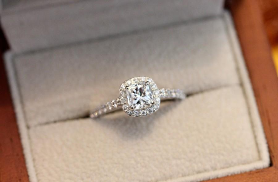 Wedding - Radiant halo engagement ring, diamond halo ring, 0.5ct diamond ring, white gold halo engagement