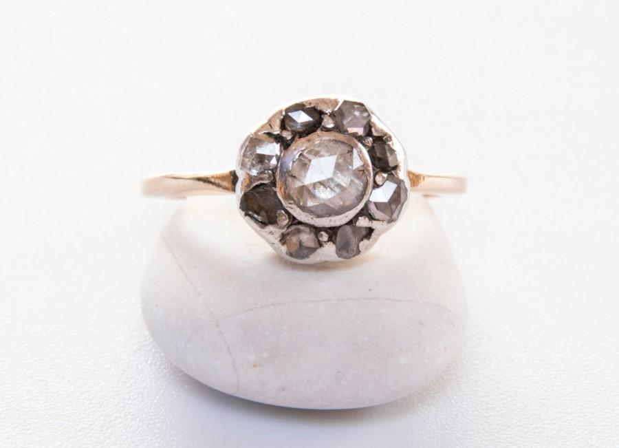 antique georgian rose products rings half cut fetheray hoop rare ring vintage diamond engagement