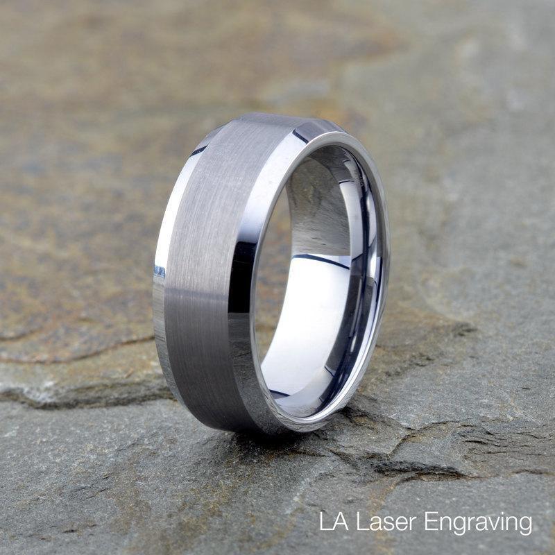 Mariage - Mens Tungsten Wedding Band, 8mm, Brushed Beveled polished Edge, Custom Engraving, Anniversary Ring, Mens Women's Band, Wedding Band