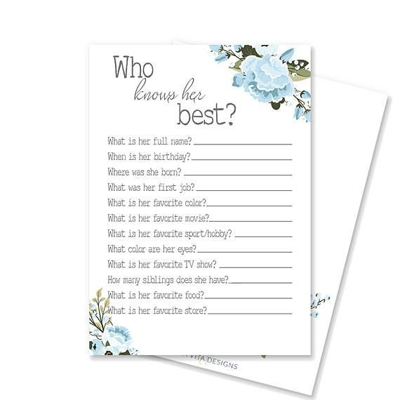 Who Knows Her Best Printable Bridal Shower Game #2717167