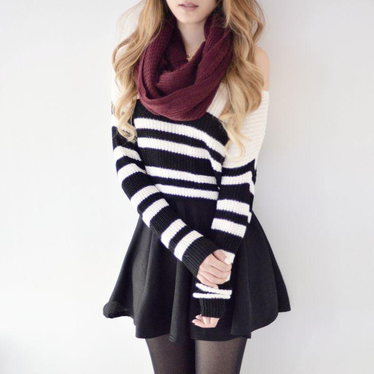 Boda - Striped Cropped Knit Pullover