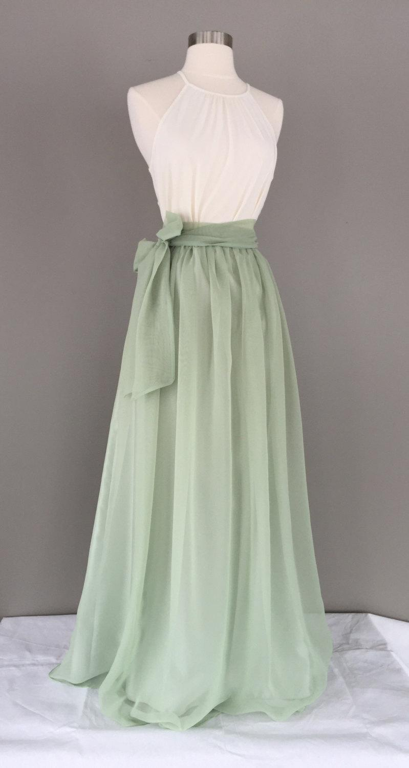 Boda - Sage green chiffon skirt, any length and color Bridesmaid skirt, floor length, tea length, knee length empire waist green chiffon skirt