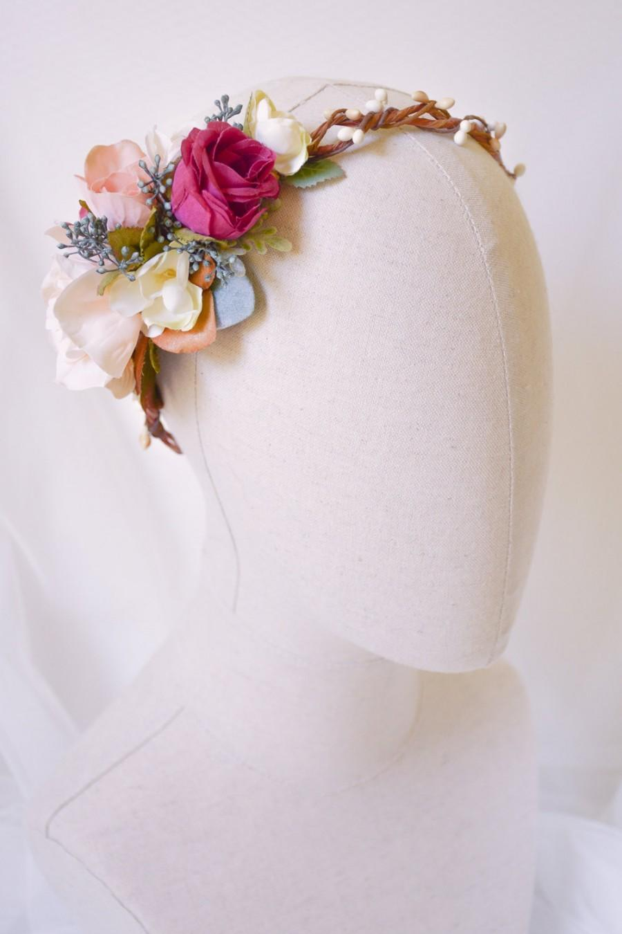 Flower crown bridal floral crown floral headband rose crown flower crown bridal floral crown floral headband rose crown flower headpiece flower headband bohemian wedding crown manon izmirmasajfo