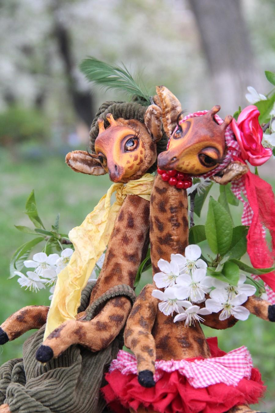 Mariage - Art  Doll Teddy doll Giraffe George and Giselle. Height 11,5 inches (29 cm).