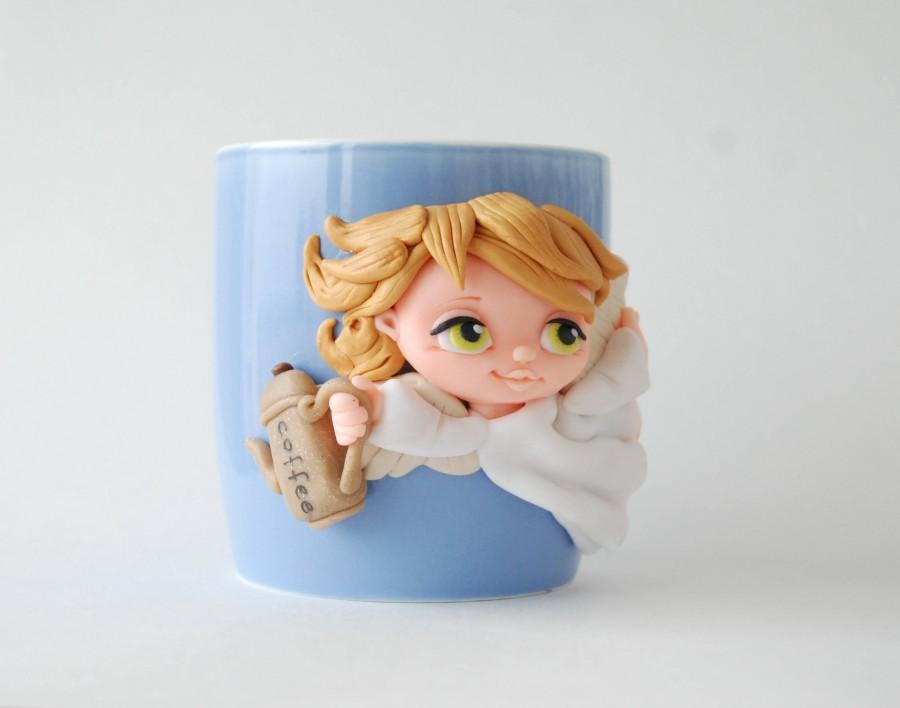 Mariage - Coffee Angel Polymer Clay Mug 3d Polymer Clay Unique Birthday Gift for Dad For Sister Gift for Daughter Gift for Mom Original Decorated Mug