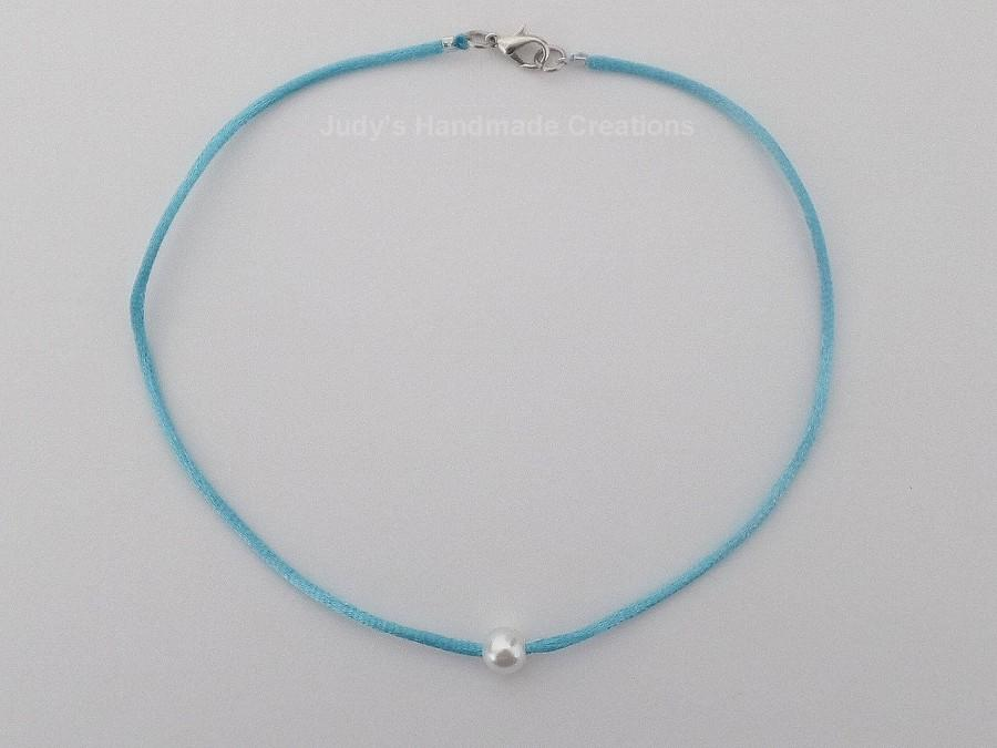 Wedding - Floating Pearl Choker, Pearl Choker, Single Pearl Choker, Pearl Choker Necklace, Cord Choker, Blue Choker, Popular Necklace