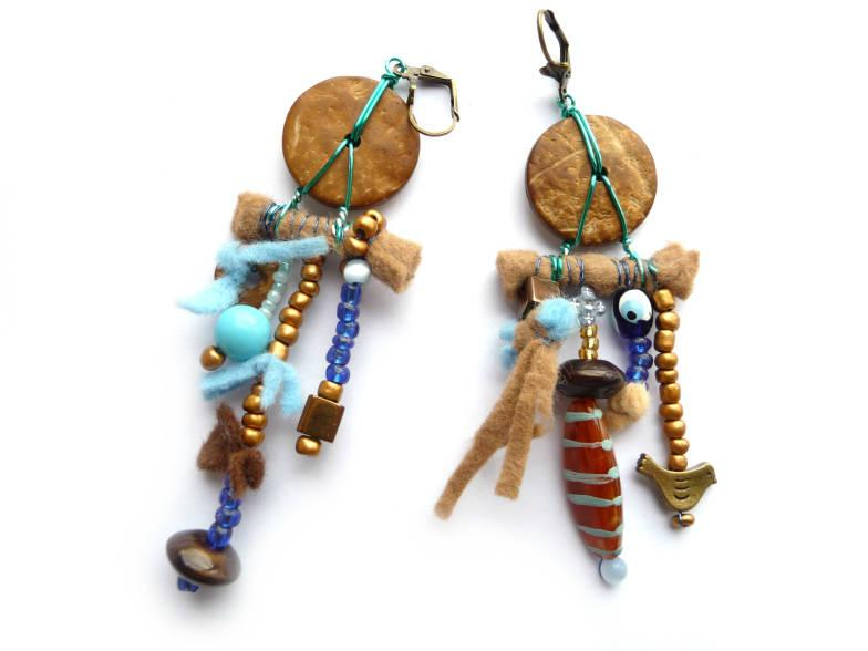 Wedding - Ethnic Earrings, Boho Earrings, Boho Rustic Earrings, Rustic Earrings, Tribe Earrings, Blue Earrings, Brown Earrings, Blue Brown Earrings,