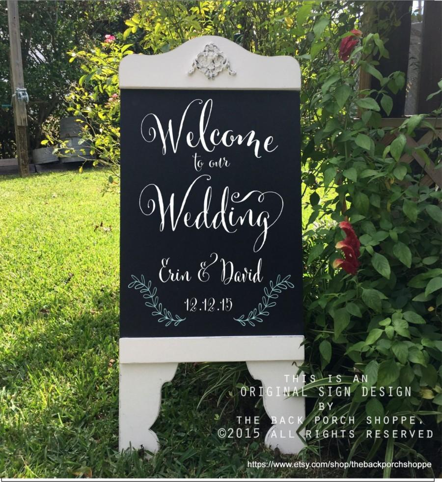 Custom Wedding Sign Welcome To Our Chalkboard Style Signs Bride And Groom A Frame Sandwich Board 37 X 16