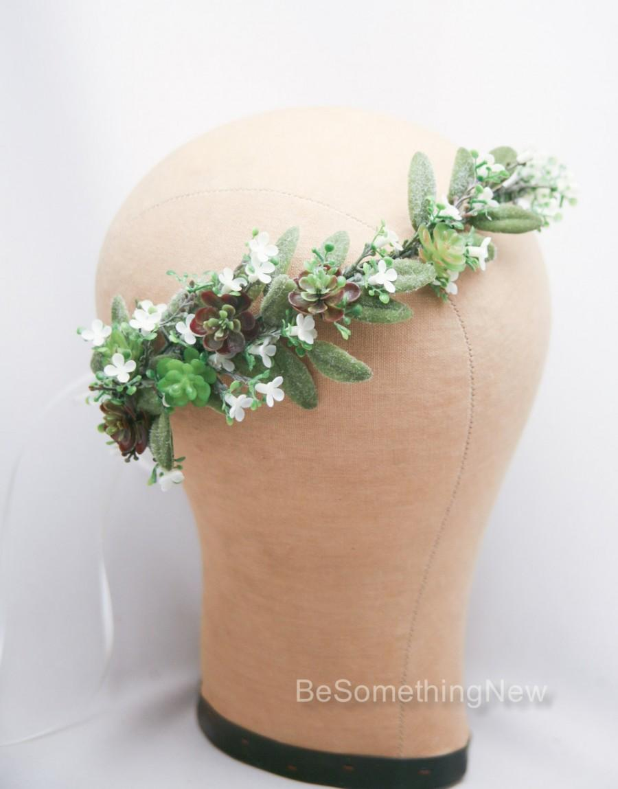 Hochzeit - Flower Crown of Succulents and White Flowers, Floral Wedding Headband, Flower Headpiece Rustic Bridal Flower Wreath of Green Succulents