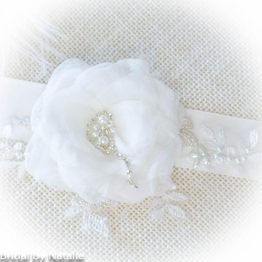 Mariage - Floral Bridal Sash - Flower Bridal Sash - Beaded Wedding Sash - Bridal Applique for Dress - Bridal Flower Applique