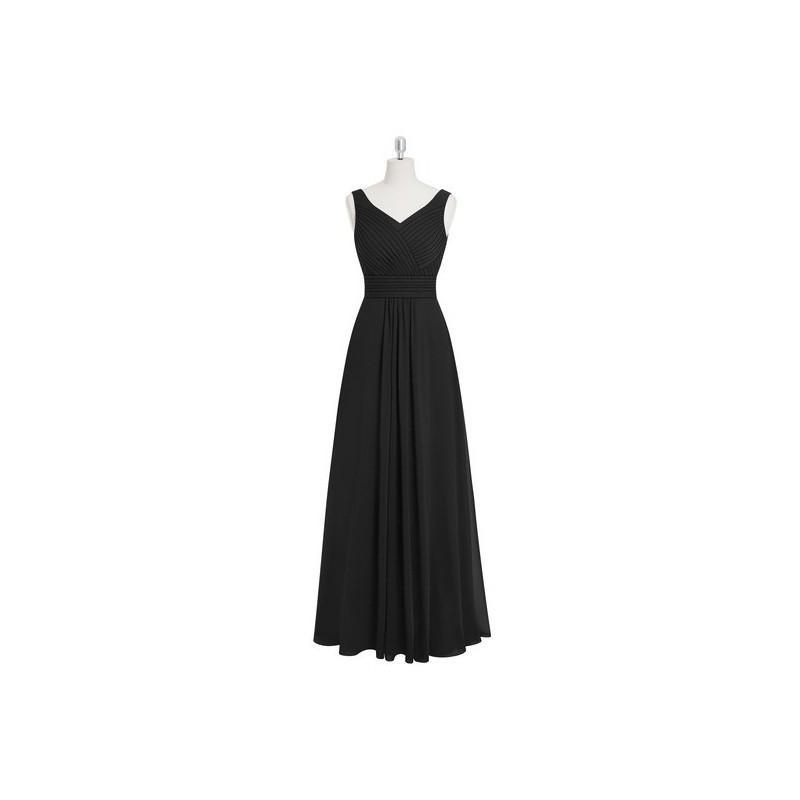 Wedding - Black Azazie Pierrette - Floor Length V Neck Chiffon V Back Dress - Charming Bridesmaids Store