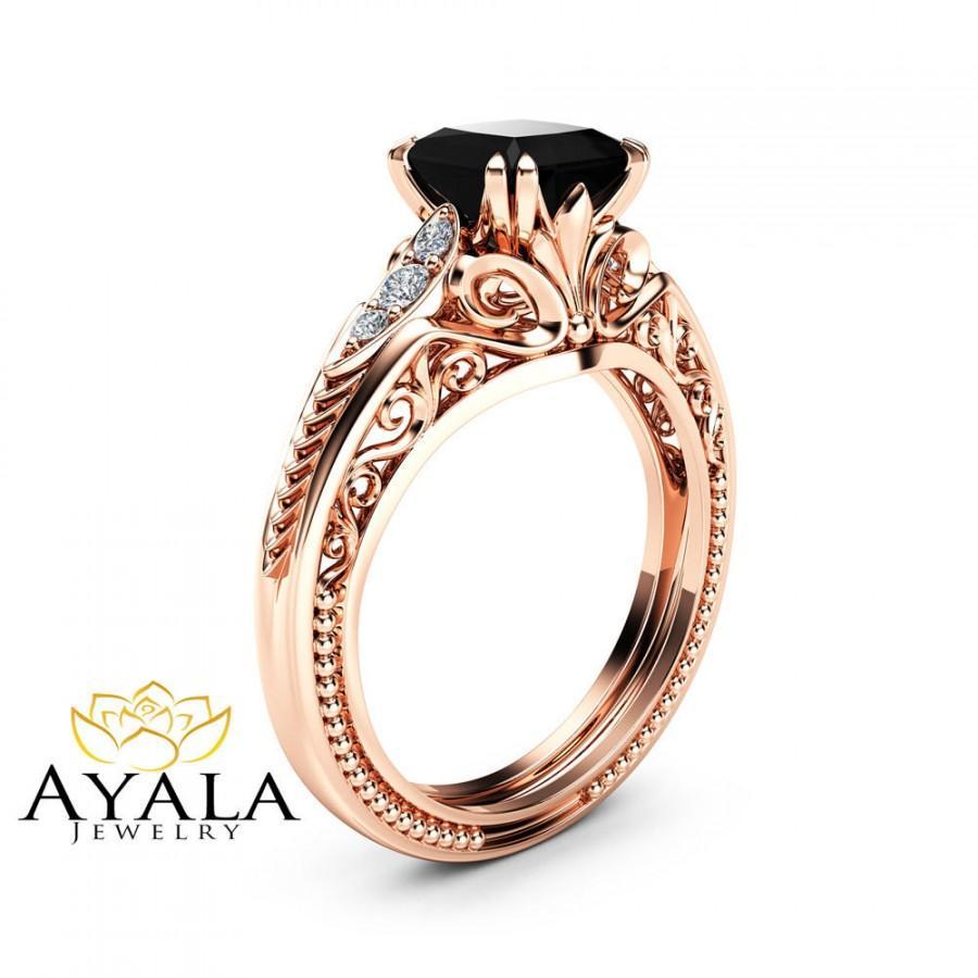 Wedding - Black Diamond Victorian Engagement Ring Princess Black Diamond Engagement Ring 14K Rose Gold Victorian Ring
