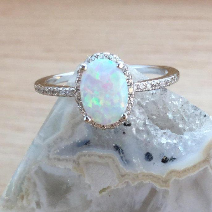 Mariage - Sterling Silver Opal Ring with Halo FREE Gift Box & FREE Shipping Codes Below Alternative Bride Rings Opal Engagement Ring Promise Ring